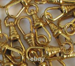 10 vtg pocket watch chain end clasps Lanyard Swivel clip Gold Repair nos clasp