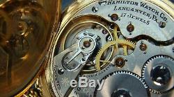 120Years Absolutely Beautiful Antique Gold filled Hamilton pocket watch&chain