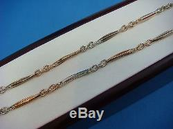 14k Yellow, Rose And White Gold Antique Pocket Watch Chain 15 Inch Long, 10.4 Gr