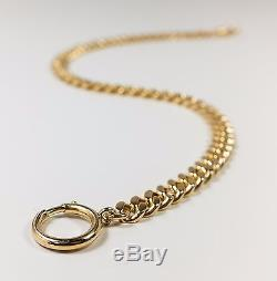 14K Yellow Gold Squared Cuban Link 12 Pocket Watch Fob Chain 35.8 grams