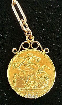 14K rose gold pocket watch chain with AU 1897 Australian Sovereign FOB