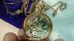 14k SOLID Gold Elgin WITH 10K gold chain & Box Antique Ladies Pocket Watch