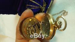 14k SOLID Gold Elgin WITH 10K gold chain Box Antique Ladies Pocket Watch 47.7g