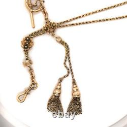 14k Yellow Gold Antique Victorian FOB Slider Chain or Pocket Watch Chain
