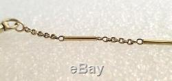 14k Yellow Gold Art Deco Fancy Pocket Watch Fob Chain 15.5 Inches 8 Grams