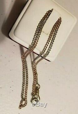 14kt SOLID Yellow, White, Rose GOLD Pocket Watch Chain Necklace! 7.2g Scrap/Use