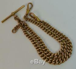 15 9 Carat Rose Gold Double Albert Pocket Watch Chain Necklace p1793