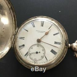 1884 Antique Rotherhams Sterling Silver Pocketwatch & Chain