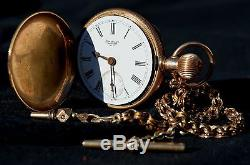 1890 Waltham P. S. Bartlett Solid 14K Gold hunting pocket watch with chain & key