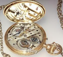 18K Solid Gold LOCLE Pocket Watch Hunter Case with Chain
