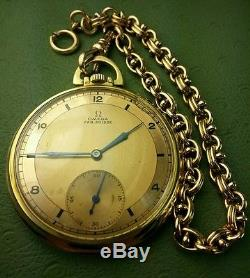 18k Solid Gold FullSize Omega Fab. Suisse Pocket Watch WithG. F. Chain Owl/Minerva
