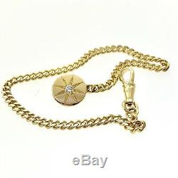 18k Yellow Gold Pocket Watch / Vest Chain for Men's with 0.11 ct Diamond