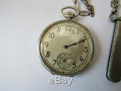 1917 E. HOWARD SERIES 7 WHITE GOLD FILLED POCKET WATCH withBOX PAPERS CHAIN KNIFE