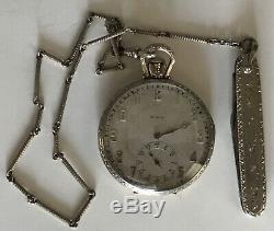1927 1-10 14k Gold Filled Elgin Pocket Watch Chain Pocket Knife 17 Jewel