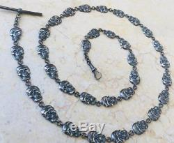 19th C Victorian Sterling silver Memento Mori 34 Skulls pocket watch chain. 80cm