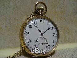 9ct Solid Gold Dennison Pocket Watch With 9ct Solid Gold Chain