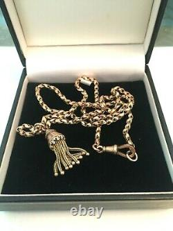 9ct gold albert watch chain and 9ct gold tassel boxed 24 inches 15.6g