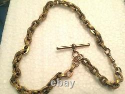 9ct gold albert watch chain t bar highly decorated oval links rare JG&S boxed