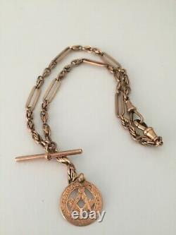 9ct gold albert watch chain t bar rose gold 9ct gold Fob c1900s edwardian 31g