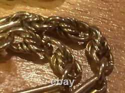 9ct gold albert watch chain t bar rose gold fancy links boxed c1800s 23g 19