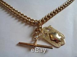 9ct gold pocket watch albert chain / chain neclace T-bar & fob 21 inches long