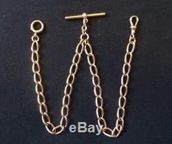 A GOOD ANTIQUE, HEAVY, ENGLISH 9CT GOLD POCKET WATCH DOUBLE ALBERT CHAIN, 36.5g