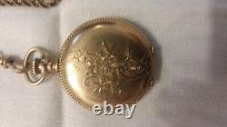 A. W. W. Co. Waltham Mass. 1878 Gold 15 Jewels Double Hunter Pocket Watch And Chain