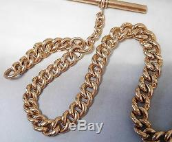 Antique 10k Solid Gold Single Albert Curb Link Pocket Watch Fob Chain #400p