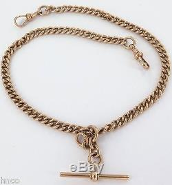 Antique 9ct Gold Double Albert Pocket Watch Fob Chain & T/bar. 31.3 Grams