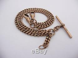 Antique 9ct Rose Gold Double Albert Pocket Watch Chain T Bar Clasp 30.8 Grams