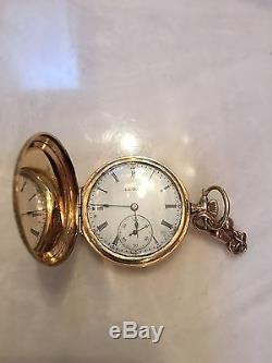 ANTIQUE ELGIN POCKET WATCH 1903-1905 14k GOLD IN HUNTER CASE WITH CHAIN