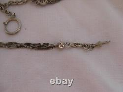 ANTIQUE FRENCH ENAMELED SOLID SILVER POCKET WATCH CHAIN, 19th CENTURY