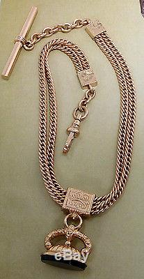 Antique Gold Filled Double Curb Link Slide Fob Pocket Watch Chain #373p