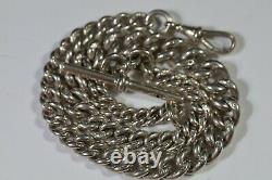 ANTIQUE HM SOLID SILVER SINGLE GRADUATED ALBERT POCKET WATCH CHAIN T-BAR 51g