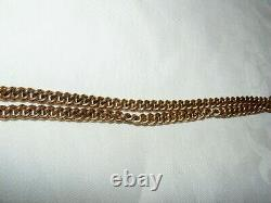 ANTIQUE POCKET WATCH CHAIN 1890s VICTORIAN 12ct ROSE GOLD FILLED ROLLED ALBERT