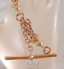 Antique Single Albert Gold Filled 7mm Curb Link Pocket Watch Fob Chain #479m