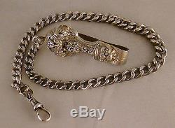 Antique Solid Silver Pocket Watch Chain With Antique Solid Silver Belt Clip