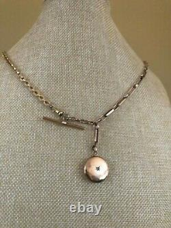 ANTIQUE VICTORIAN GF POCKET WATCH CHAIN NECKLACE With ENGRAVED LOCKET & T BAR