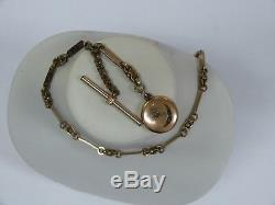 ANTIQUE VICTORIAN GOLD FILLED POCKET WATCH CHAIN WithMOON PHOTO LOCKET FOB