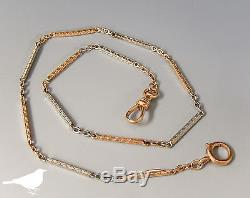 Art Deco Solid 14k Two Tone Rose Gold & White Gold Pocket Watch Chain Fob #647c