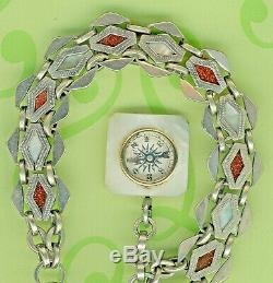 ART NOUVEAU COMPASS ENAMEL and MOTHER of PEARL POCKET WATCH CHAIN SEAL GESETZLI