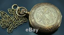 Absolutely Beautiful 1890 Antique Elgin pocket watch&gold Filled chain Fob size6
