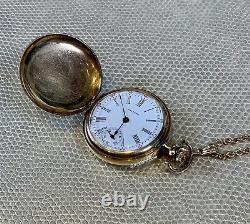 American Waltham Watch Co. 14kt Yellow Gold Mechanical Pocket Watch with Chain