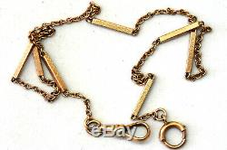Antique 10K Solid Rose Gold Pocket Watch Chain 13.5 Long
