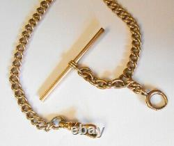 Antique 10K Yellow Gold Bar Type Pocket Watch 8.5 Chain with Charm Ring 16.7Grams