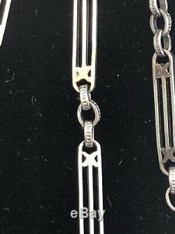 Antique 10k Solid White Gold Yellow Gold Accent Pocket Watch Chain FOB 14 Inchrs