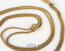 Antique 10k Yellow Gold Slider Victorian Crescent Moon Opal Pocket Watch Chain