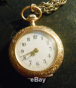 Antique 14K Gold Enamel Ladies Pocket Watch. 585 Swiss with Necklace Chain