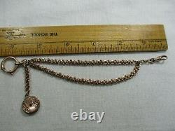 Antique 14K Gold Fancy Link Pocket Watch Vest Chain withFob-Swivel, Ring, Pearls -cg