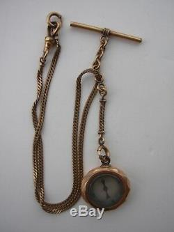Antique 14K Gold Watch Compass Fob T-Bar Simmons Clasp GF / chains 12K 18.9g